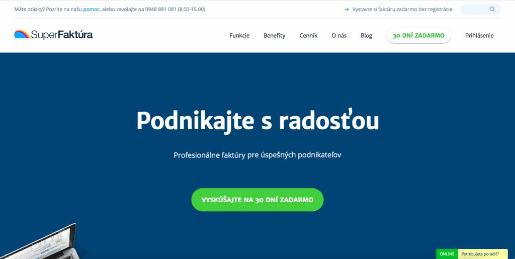 SuperFaktúra náhľad webovej stránky