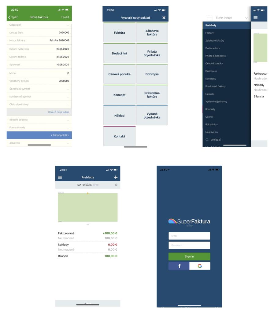 SuperFaktúra mobilná aplikácia
